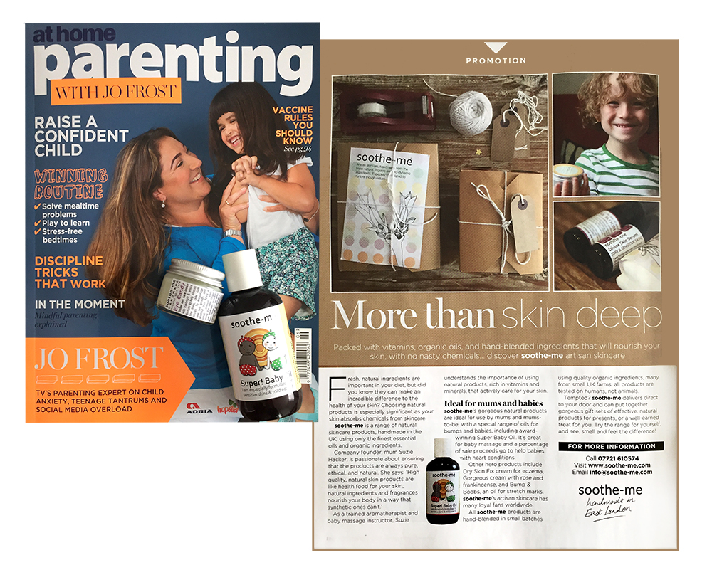 Parenting magazine, soothe-me natural skincare