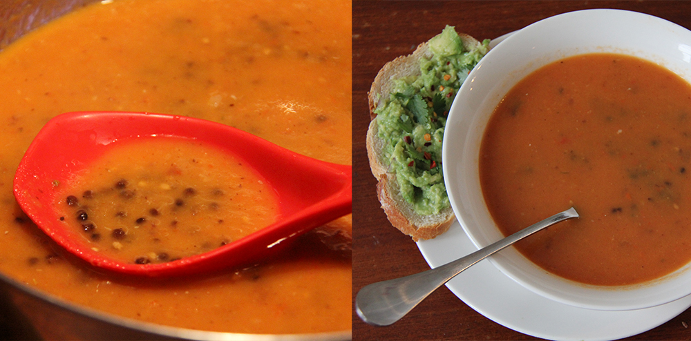 Tomato soup with black beluga lentils